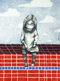 Zittend meisje - 28,5 x 20 cm