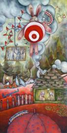 Target bunny in the sky with caterpillars | 290x140cm | TE KOOP