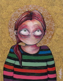 Self portrait in striped sweater - kunstprint