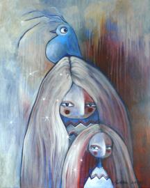 Mother, daughter and bird | 50x40cm | TE KOOP
