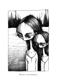 Mother and daughter - zwart/wit print
