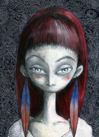 Feather girl - art print