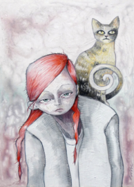 Girl with cat | SOLD