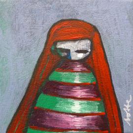 Redhead girl III | 10x10cm | TE KOOP