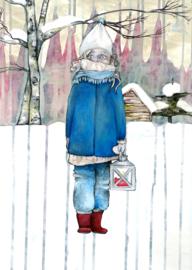 Wintermeisje - gevouwen kaart