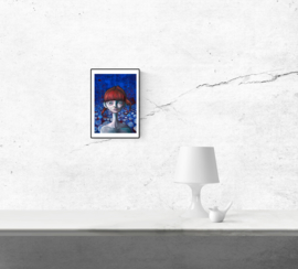 Portrait in blue and red II - kunstprint