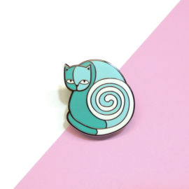 Turquoise Cat emaille pin