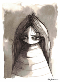 Portrait of a girl - inkt tekening