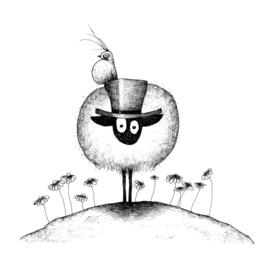 Connemara met hoed en vogel - kunstprint