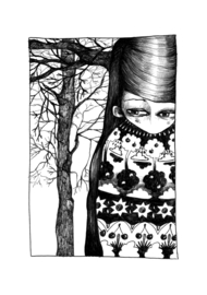 Tree girl - zwart/wit print