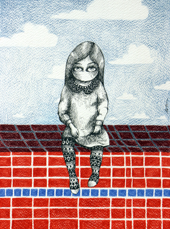 Sitting girl - 28,5 x 20 cm