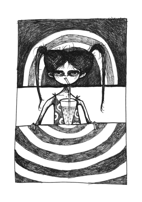 Lemonade girl - zwart/wit print