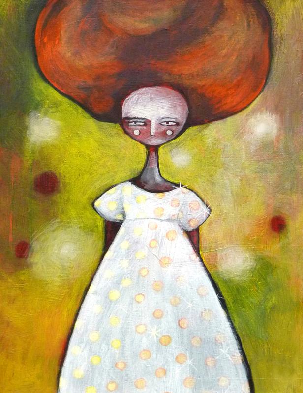 The white dress - kunstprint