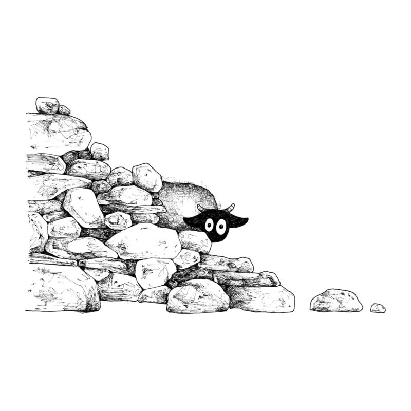 Connemara hiding behind brick wall - postcard