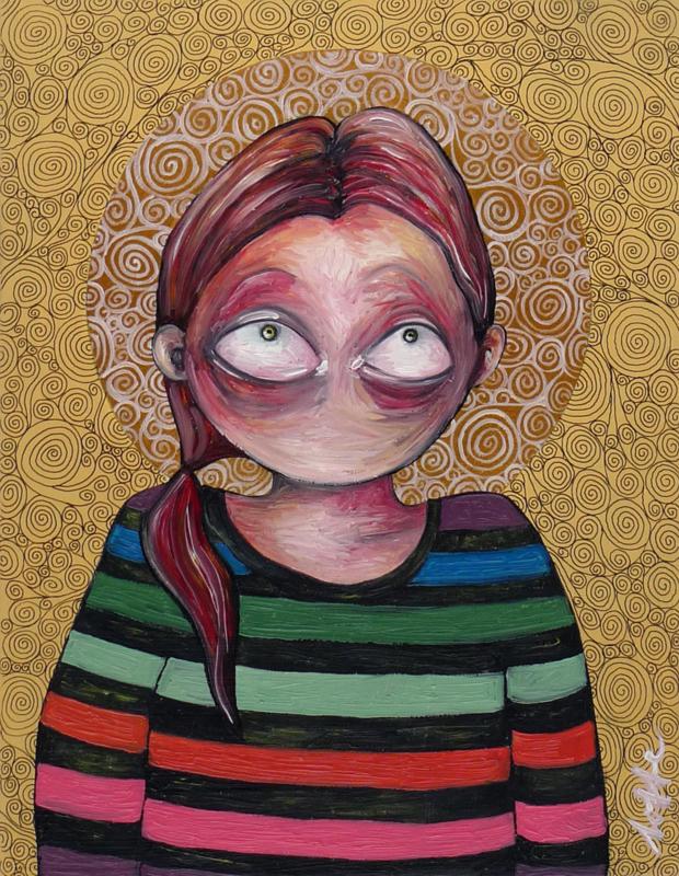 Self portrait in striped sweater - kunstprint