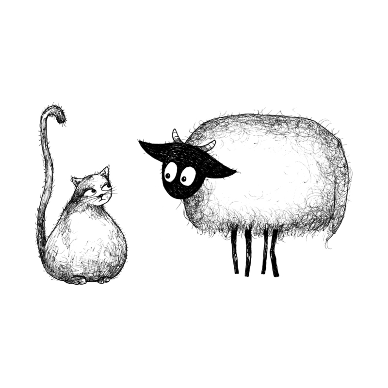 Connemara en kat - kunstprint