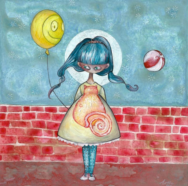 Girl with balloon - kunstprint