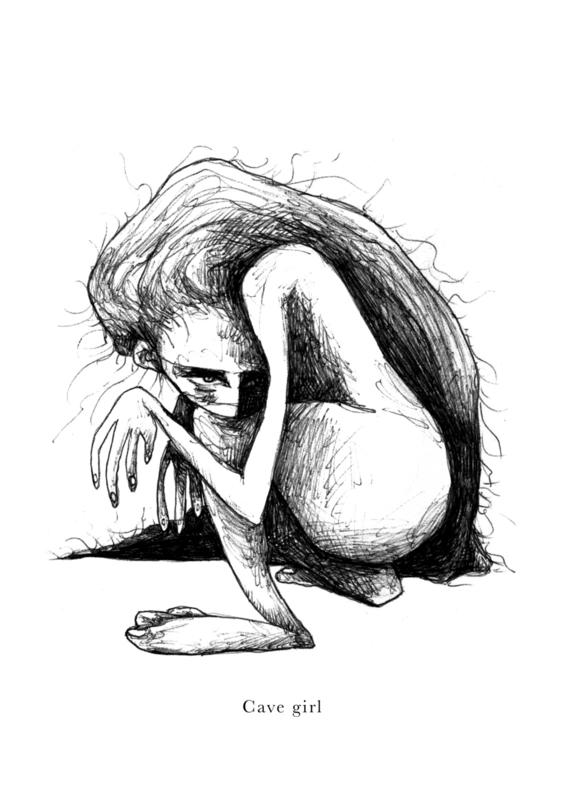 Cave girl - kunstprint
