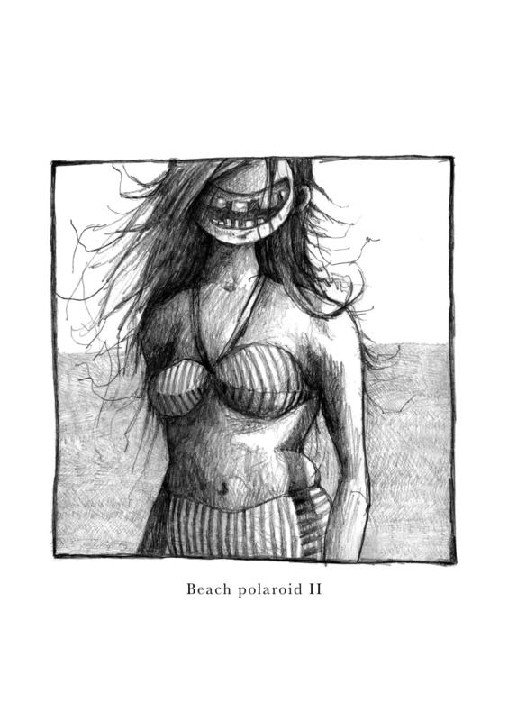 Beach polaroid II - zwart/wit print