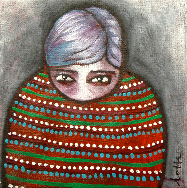 Girl with dotted sweater | 10x10cm | TE KOOP