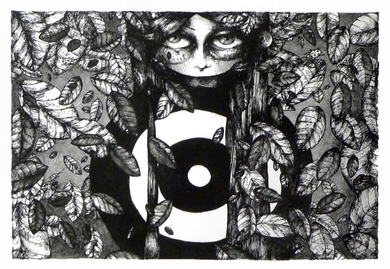 Autumn girl - lithograph - FOR SALE