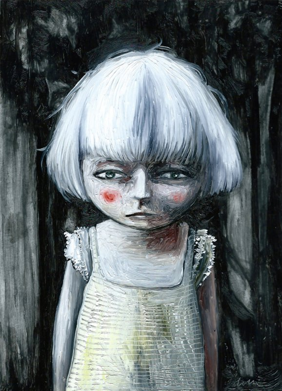 White hair girl - kunstprint