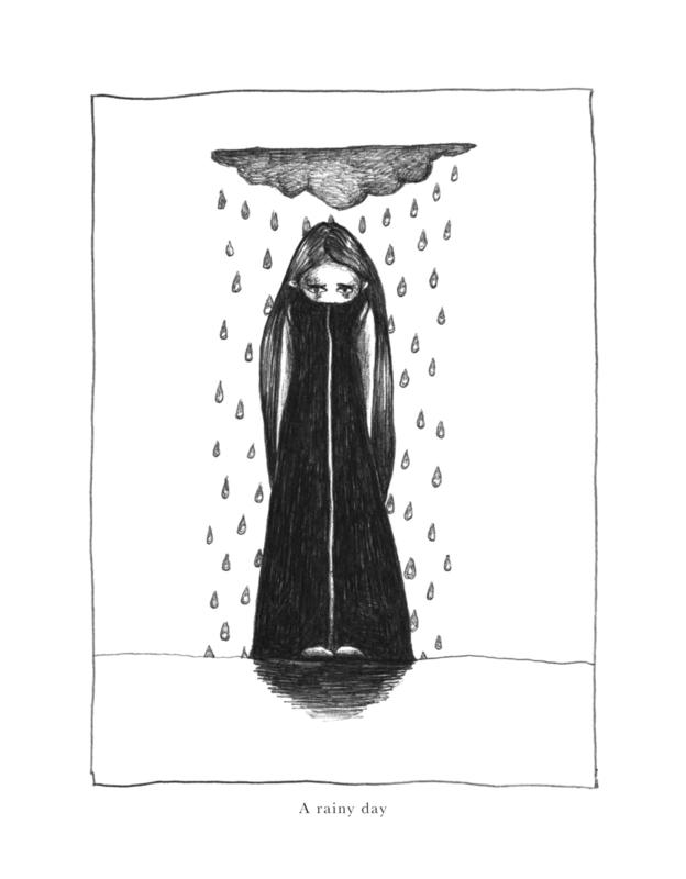 A rainy day - zwart/wit print