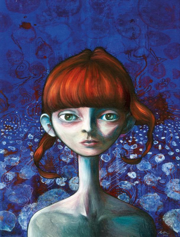 Portrait in blue & red II | VERKOCHT