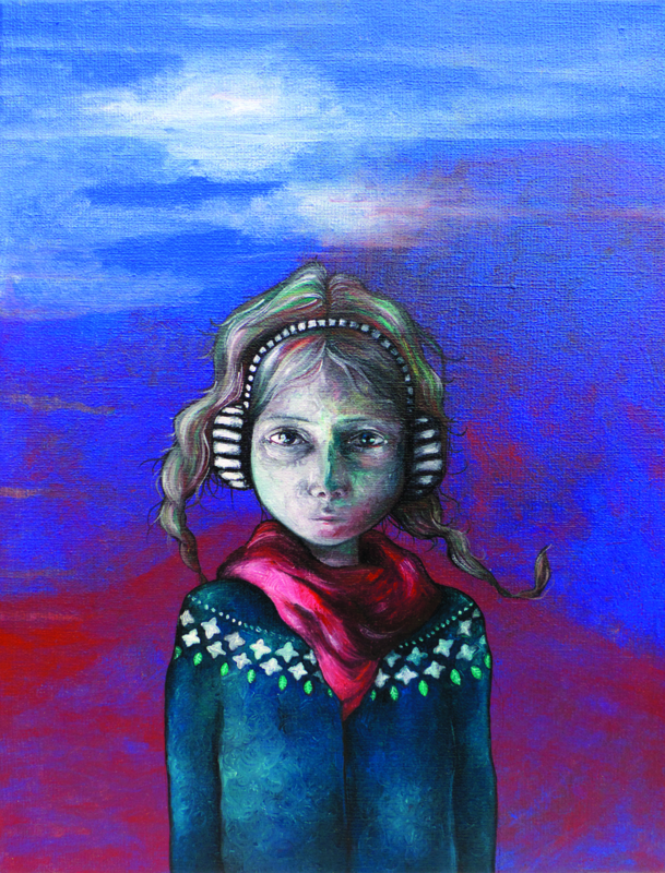 Portrait in blue & red I