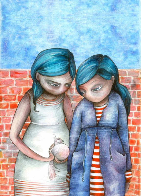 Two girls & a bird - ansichtkaart