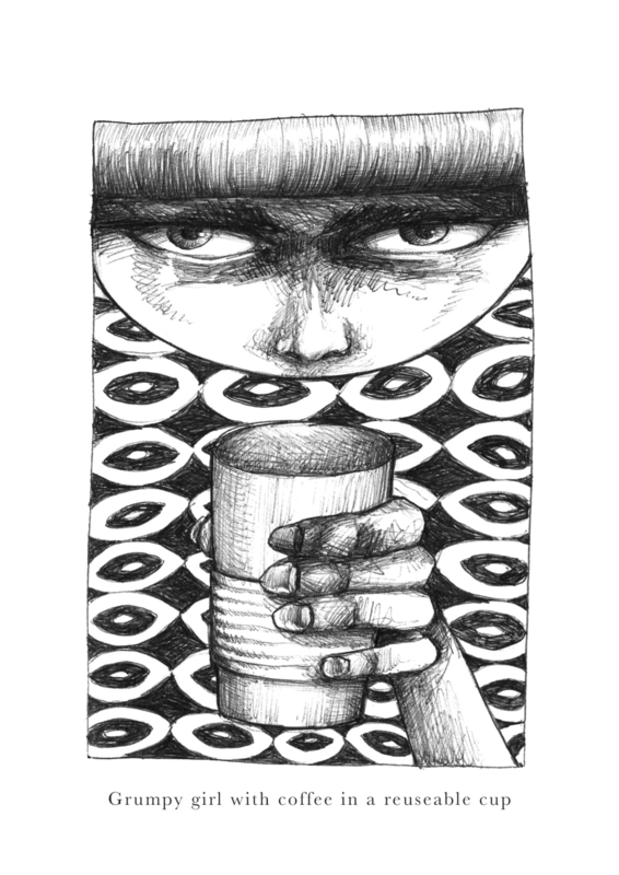 Grumpy girl with coffee in a reuseable cup - zwart/wit print