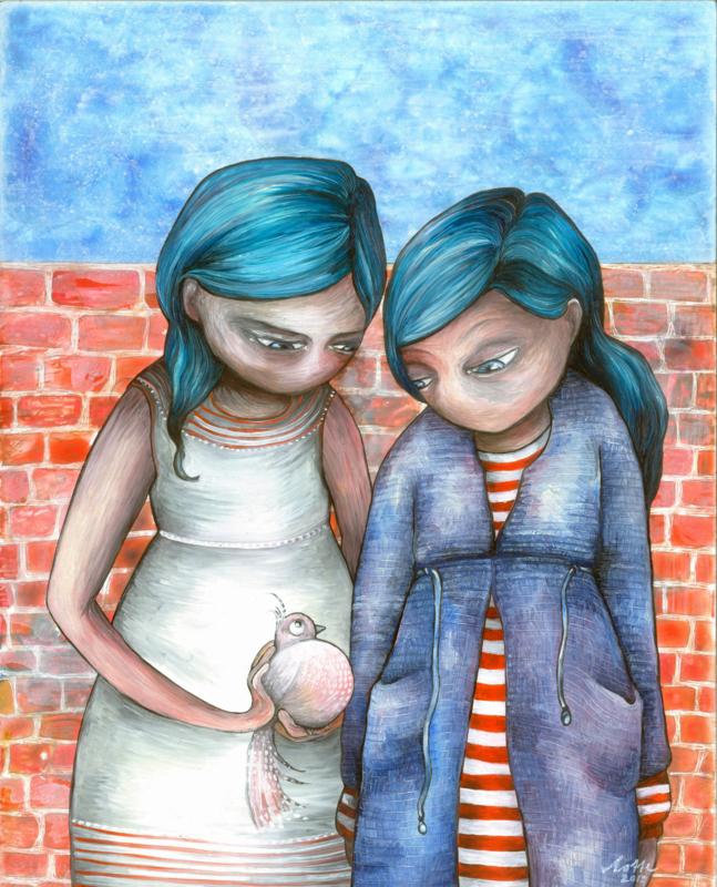 2 girls and a bird - kunstprint