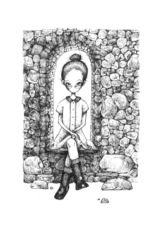 Castle girl - zwart/wit print