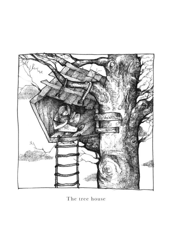 The tree house - black & white art print