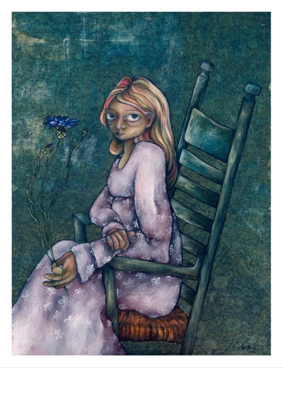 Cornflower girl - kunstprint