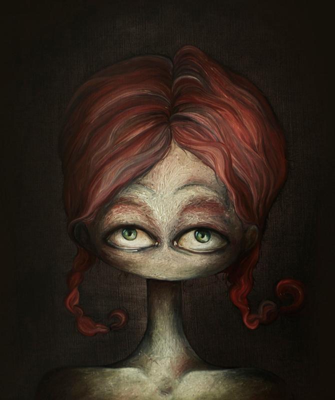 Portret met vlechten - kunstprint