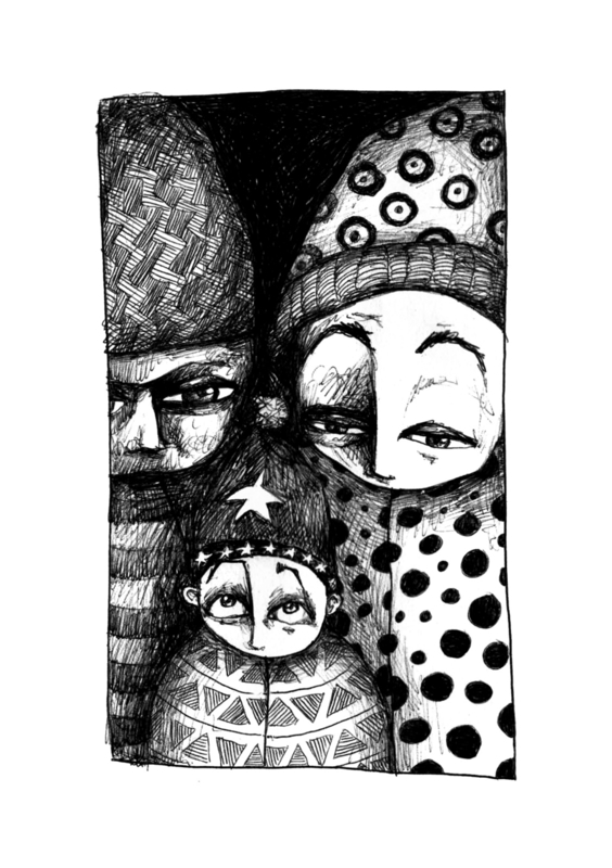 Winter family - zwart/wit print