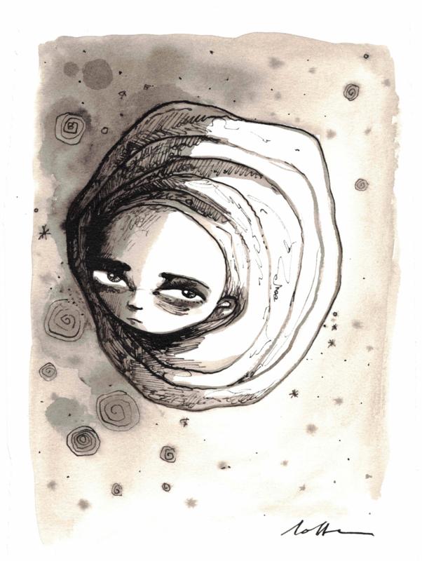 Maan - inkt tekening