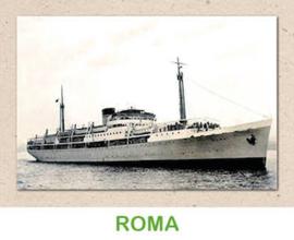 Dubbele kaart 'Transportschip Roma'