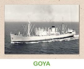 Dubbele kaart 'Transportschip Goya'