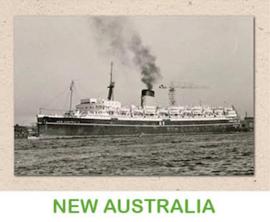 Dubbele kaart 'Transportschip New Australia'