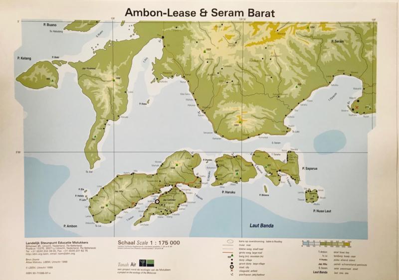 Wandkaart Ambon-Lease & Seram Barat