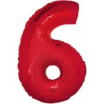 Folie Cijfer 6 - 100 cm Rood