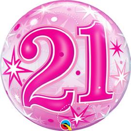 Bubble 21 jaar - Pink Starburst Sparkle  (43123Q)