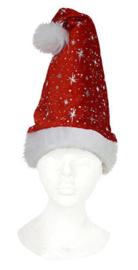 Kerstmuts rood met zilvermotief (90069E)