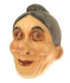 Masker oudere vrouw met zwart/grijs knotje (34244P)