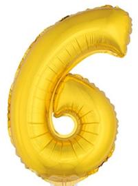 Folie Cijfer 6 - 41 cm Goud (met stokje)