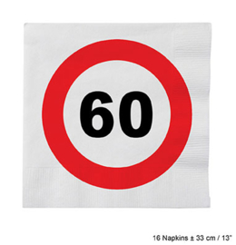 Servetten verkeersbord 60 jaar (84620E)