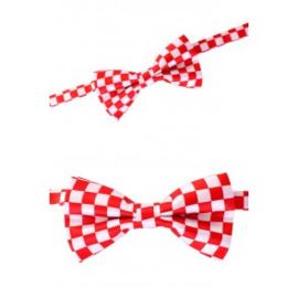 Luxe strik brabants bont rood/wit geblokt (14341P)