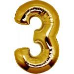 Folie Cijfer 3 - 66 cm Goud
